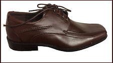 Route 21 Mens Brown Leather Lined Lace up Dress Smart square Shoe 8 9 10