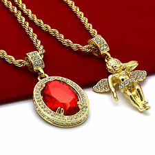 """Men 14k Gold Plated High Fashion 2 pcs set Ruby & Angel 4mm 30"""" & 24"""" Rope chain"""