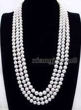 SALE Big AA 9-10mm Round White High Quality Natural FW pearl 80'' necklace-n6248