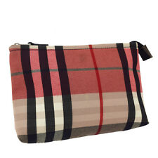 Auth BURBERRY LONDON Nova Cosmetic Bag Pouch PVC Leather Beige NEW TYPE 08Y503