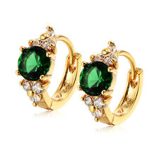 Womens Earings Green Crystal Yellow Gold Filled Korean Small Hoop Earrings