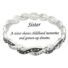 SISTER Silvertone Stretch Rhinestones Bracelet-Antique inspired-Inspiration card