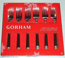 Gorham Festive Holly Dessert Forks Set of 6 Gold Banded New in Box