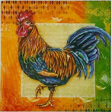 ROOSTER  2 individual LUNCH SIZE  paper napkins for decoupage 3-ply