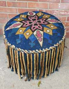 Vtg Round Footstool Braided Fringe Surrounds Seat To To Floor Hand Painted Uphol