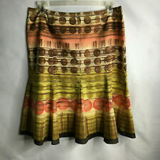 Talbot's Brown, Gold, Coral Polka Dot Stripe Design 100% Cotton Lined Skirt S 16