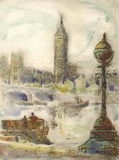 BIG BEN LONDON Hand Coloured Etching JOHN THIRTLE FRSA c1930