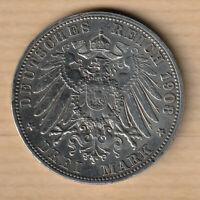 ALLEMAGNE - BAVIÈRE 3 Mark 1908 D (RARE) - Otho Ier roi de Bavière Munich - SPL+