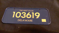Vintage 70/80s Cereal Mini Bicycle License Plate Delaware EUC