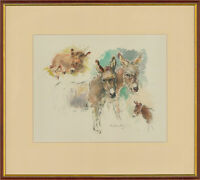 Nora Howarth - Signed & Framed Contemporary Watercolour, Studies of a Donkey