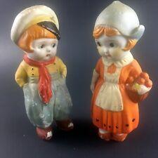 Vtg Bisque Porcelain Boy Girl in Traditional Dutch Folk Costume Figurines Japan