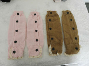 """LOT 2 pair girls youth knit leg warmers button lace trim pink brown 12"""" NWOT"""
