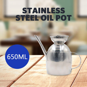 Oil Pot Stainless Steel Bottle Jar Drip Free Can Kitchen Dispenser Olive 650ML
