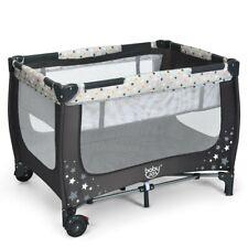 Baby Crib Portable Playpen Infant Mobile Nursery Playard Bed Mattress Pad Gray