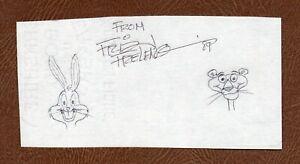FRIZ FRELENG Academy Award Cartoonist SIGNED BUGS BUNNY & PINK PANTHER SKETCH