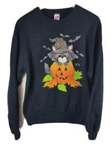 Halloween Sweatshirt M Medium 80s Vtg Sweater Jumper Pumpkin Cat Soffe Sweats