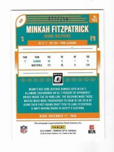 Minkah Fitzpatrick 2018 DONRUSS OPTIC NFL ROOKIE AUTOGRAPH CARD Steelers RC AUTO