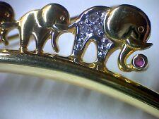 Brosche in Gold 333, Elefanten mit Diamant und Rubin