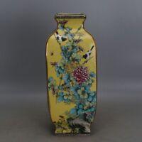 "13.7 ""Qianlong mark China antique Porcelain famille rose Flower and bird Vase"