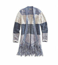 NEW LUCKY BRAND WOMENS OPEN FRONT FRINGE SWEATER KNIT TOP WRAP DUSTER CARDIGAN L