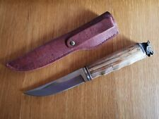Survival Tactical  BOOT Hunting Camping Puukko Fixed Blade Knife Wolf Head