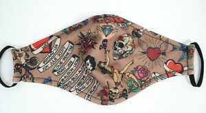 Traditional Tattoo Art Print Handmade Colorful Face Mask - Washable Mask