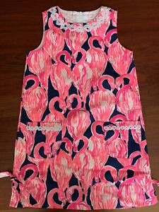 EEUC Lilly Pulitzer Flamingo Shift Dress Size 10