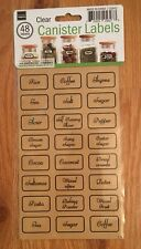 48 PIECES CANISTER LABELS DECAL CLEAR STICKERS - SPICES JARS CONTAINERS Food