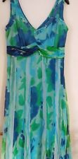 Per Una Pretty Flowing Floral Chiffon Blue/Green Dress - Size 12 Long