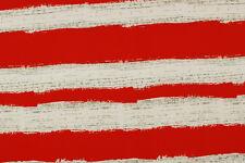 Jersey doppio a righe bianco e rosso STOFFA AL METRO TESSUTO A METRAGGIO