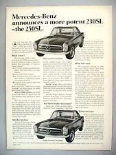 Mercedes Benz 230SL PRINT AD - 1967