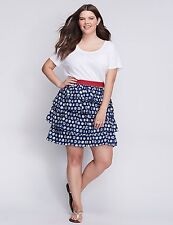 Lane Bryant Women's Blue & White Dots Tiered Skirt Size 18/20