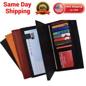 Genuine Leather Checkbook Cover Wallet Organizer W/ Credit Card Holder Unisex