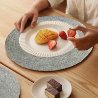 Set of 8 Round Placemats PVC Woven Washable Table Mats Heat Resistant Gray 38CM