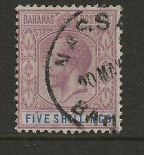 BAHAMAS  SG 124  1924 WATERMARK MULTIPLE SCRIPT 5/-   FINE USED.