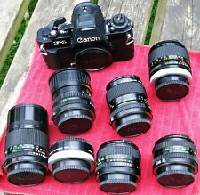 Canon F-1 camera body Black with various lenses & Extension tube (EXCELLENT COND