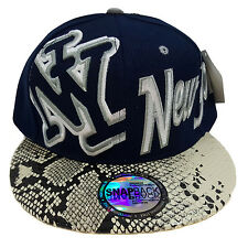 NEW YORK Snake Skin Navy Blue Snapback Cap