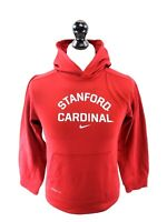NIKE Boys Hoodie Jumper L Large Burgundy Red Polyester Therma-Fit Stanford