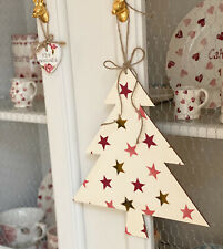 Emma Bridgewater Wooded Hanging Christmas Tree - Pink And Gold Stars
