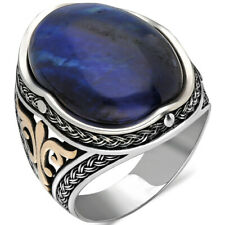 Solid 925 Sterling Silver Oval Blue Tiger's Eye Stone Men's Ring