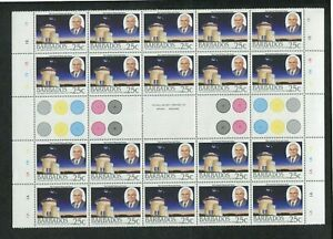 1988 Barbados Postage Stamps #735-738 Partial Sheets - Harry Bayley Obsveratory