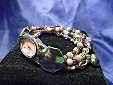 Woman's Quartz Beaded Watch with Heart Charms **Nice** B39-234