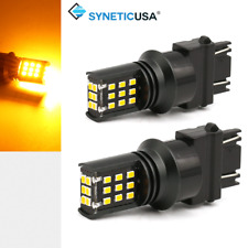 Syneticusa 3157 Amber Yellow 45W 24LED Turn Signal Parking DRL LED Light Bulbs