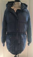 EDDIE BAUER VINTAGE FADED NAVY BLUE DOWN PUFFY PUFFER WINTER COAT WOMENS SIZE M