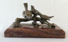 Sculpture Bronze Antique Bird On Branch Animals Birds Sparrow BM1
