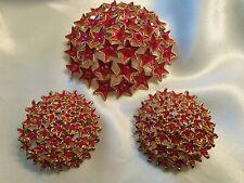 HUGE Vintage Gold Setting RED Enamel & Rhinestone Brooch & CLIP Earrings 15JS02