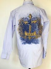NEW NWT INRI Cross Print Light Purple Button-Front L/S Shirt by Fiber