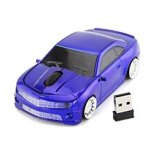 US 3D USB 2.4Ghz Wireless Camaro car mouse Laptop PC Game Mice LED Xmas Gift Blu