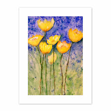 Flower Yellow Tulips  Print Canvas Premium Wall Decor Poster