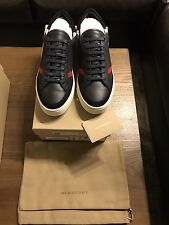 New Authentic Burberry Men Navy sneakers Shoes Logo Nova Check Plaid 7 40 $590